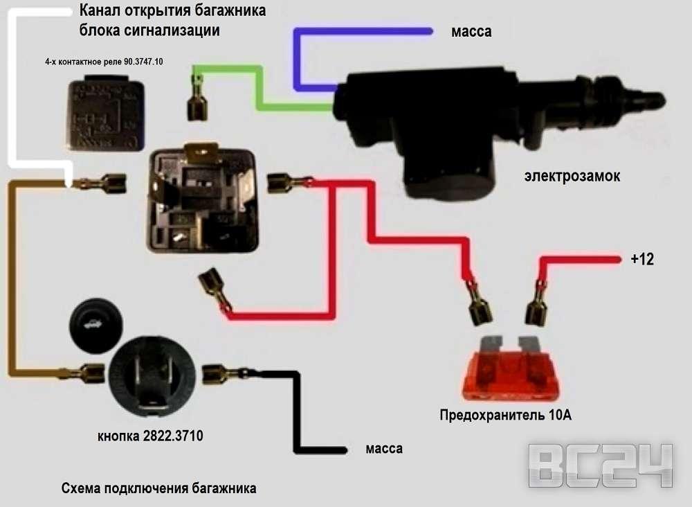 Схема подключения кнопки багажника