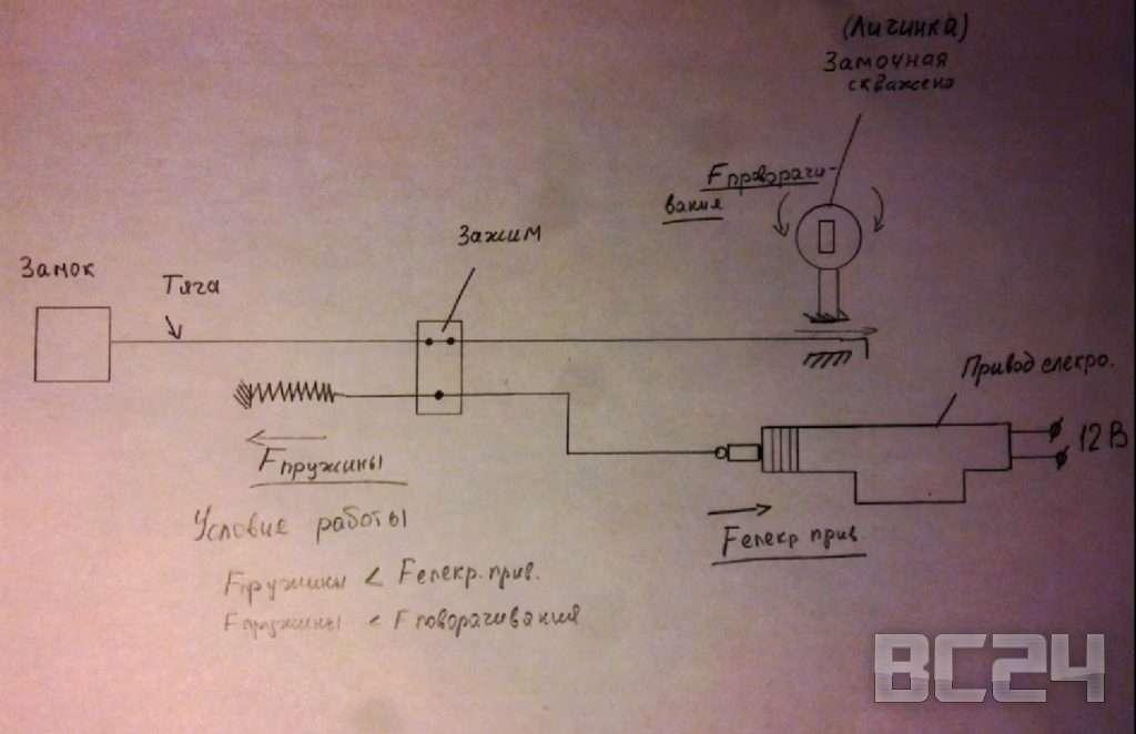 Схема подключения электро привода замка